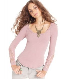 Free People Top, Long Sleeve Lace Henley Tee   Tops   Women