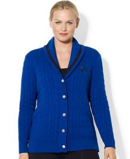 Lauren Ralph Lauren Plus Size Sweater, Long Sleeve Shawl Collar Cable Knit Cardigan   Sweaters   Plus Sizes