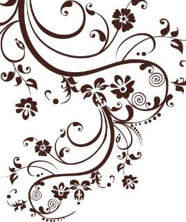 "Stickerbrand Vinyl Wall Art Decal Sticker Swirl Flower Floral Design #262A (100"" X 29"") #262A   Wall Decor Stickers"
