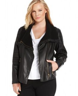 Calvin Klein Plus Size Faux Leather Moto Jacket   Jackets & Blazers   Plus Sizes