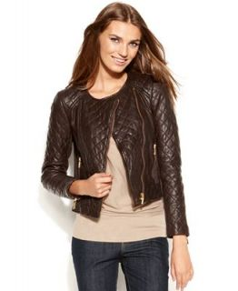 MICHAEL Michael Kors Long Sleeve Quilted Leather Moto Jacket   Women