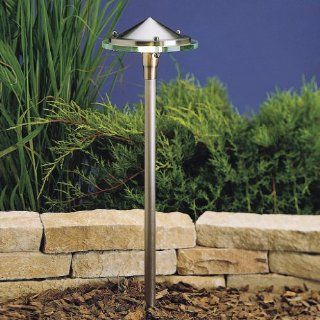 15317BN Glass & Metal 1LT Incandescent/LED Hybrid LV Landscape Path & Spread Light, Brushed Nickel Finish with Glass Diffuser