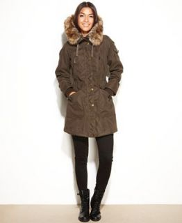 One Madison Expedition Coat, Hooded Faux Fur Trim Parka   Coats   Women