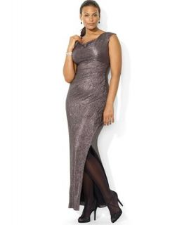 Lauren Ralph Lauren Plus Size Cap Sleeve Metallic Drape Neck Gown   Dresses   Plus Sizes
