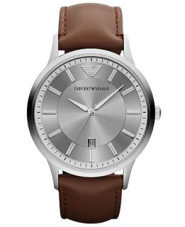 Emporio Armani Watch, Mens Brown Leather Strap 43mm AR2463   Watches   Jewelry & Watches