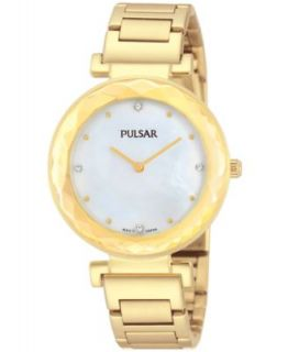 Pulsar Womens Gold Tone Stainless Steel Mesh Bracelet Watch 27mm PH8056   Watches   Jewelry & Watches