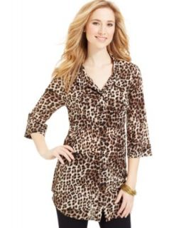 MICHAEL Michael Kors Long Sleeve Button Front Leopard Print Blouse & Skinny Leg Ankle Pants   Women