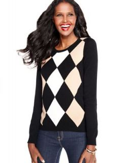 Charter Club Sweater, Long Sleeve Argyle Cashmere Crew Neck   Sweaters   Women