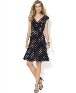 Lauren Ralph Lauren Petite V Neck A Line Dress   Dresses   Women