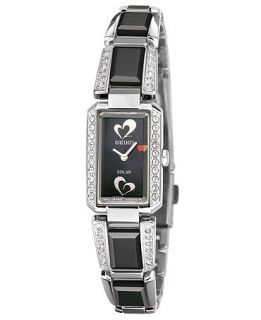 Seiko Watch, Womens Solar Black Ceramic and Stainless Steel Bracelet 16mm SUP187   American Heart Association   Watches   Jewelry & Watches