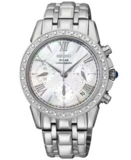 Seiko Watch, Womens Chronograph Sportura Diamond Accent White Ceramic and Stainless Steel Bracelet 38mm SNDX95   Watches   Jewelry & Watches