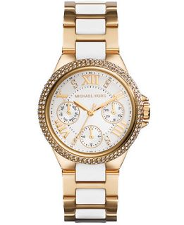 Michael Kors Womens Chronograph Mini Camille White and Gold Tone Stainless Steel Bracelet Watch 33mm MK5945   Watches   Jewelry & Watches