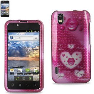 Reiko 2DPC LGLS855 155 Premium Durable Snap On Protective Case for LG Marguee LS855   1 Pack   Retail Packaging   Pink Cell Phones & Accessories