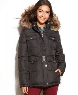 Laundry by Design Hooded Faux Fur Trim Belted Puffer Parka   Coats   Women