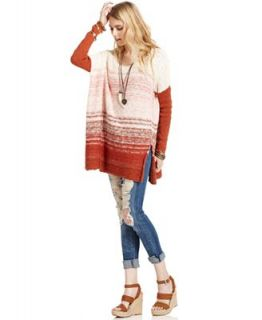 Free People Top, Long Sleeve Striped Boxy Sweater   Sweaters   Women