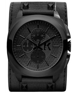 Karl Lagerfeld Unisex Chronograph Black Leather Cuff Strap Watch 46mm KL1606   Watches   Jewelry & Watches