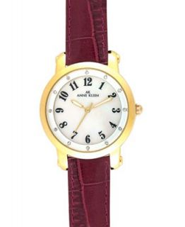 Ak Anne Klein Watch, Womens Burgundy Leather Strap 10 9170MPBE   Watches   Jewelry & Watches