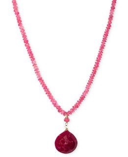 14k Gold Necklace, Pink Spinel (36 ct. t.w.) and Dyed Red Adventurine (9ct. t.w.) Heart Pendant   Necklaces   Jewelry & Watches