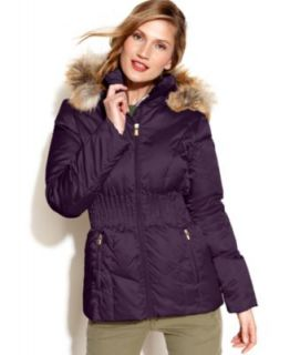 Nautica Hooded Faux Fur Trim Parka Coat   Coats   Women