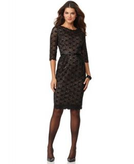Alex Evenings Petite Dress, Three Quarter Sleeve Lace Sequin Belted Sheath   Dresses   Women