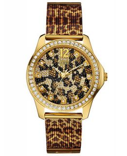 GUESS Womens Animal Printed Stainless Steel Mesh Bracelet Watch 39mm U0333L1   Watches   Jewelry & Watches