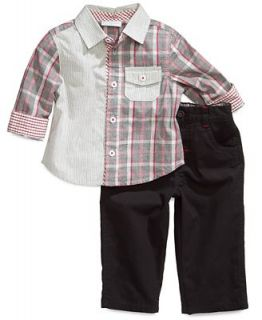 First Impressions Baby Set, Baby Boys 2 Piece Plaid Shirt and Pants   Kids