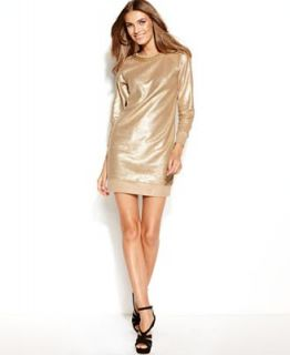MICHAEL Michael Kors Long Sleeve Gold Foil Necklace Dress   Dresses   Women