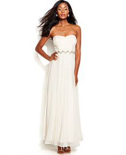 Betsy & Adam Strapless Sequin Lace Pleated Gown   Dresses   Women