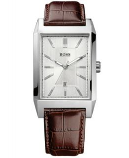 Hugo Boss Watch, Mens Black Leather Strap H1003   Watches   Jewelry & Watches