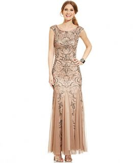 Adrianna Papell Cap Sleeve Beaded Mermaid Gown   Dresses   Women