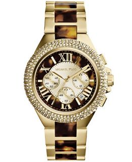 Michael Kors Womens Chronograph Camille Tortoise and Gold Tone Stainless Steel Bracelet Watch 43mm MK5901   Watches   Jewelry & Watches