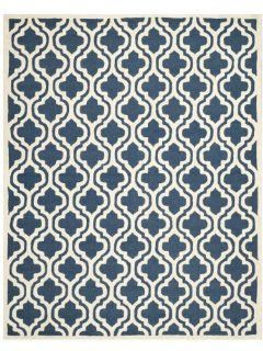Safavieh Cambridge Collection CAM132G Handmade Wool Area Rug, 6 by 9 Feet, Navy and Ivory   Navy Blue Rug