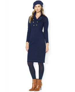 Lauren Ralph Lauren Long Sleeve Military Inspired Cotton Dress   Dresses   Women