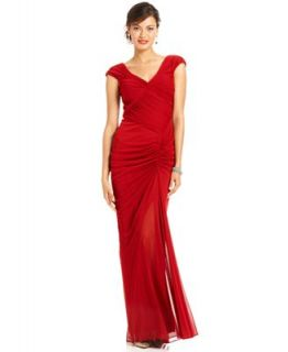 Adrianna Papell Dress, Cap Sleeve Ruched Gown   Dresses   Women