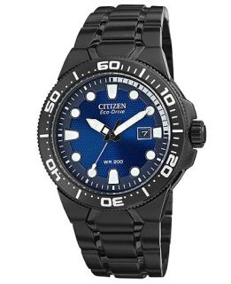 Citizen Mens Eco Drive Scuba Fin Black Ion Plated Stainless Steel Bracelet Watch 46mm BN0095 59L   Watches   Jewelry & Watches