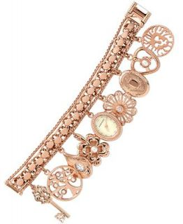 Anne Klein Watch, Womens Rose Gold Tone Charm Bracelet 16mm 10 8096RGCH   Watches   Jewelry & Watches