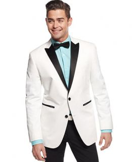 Bar III White Cotton Sport Coat with Black Lapel Slim Fit   Blazers & Sport Coats   Men