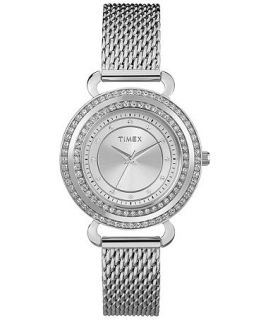Timex Watch, Womens Premium Originals Crystals Stainless Steel Mesh Bracelet 33mm T2P231AB   Watches   Jewelry & Watches