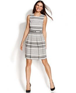 Calvin Klein Sleeveless Pleated Striped Dress   Dresses   Women