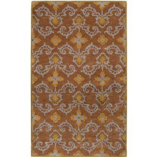 Surya Sea SEA 121 Classic Hand Tufted 100% New Zealand Wool Mocha 5' x 8' Paisleys and Damasks Area Rug   Area Rugs