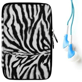 "(Black White Zebra) VG Animal Print Carrying Case with Faux Fur Exterior for Kobo Touch 6"" Pearl high contrast E Ink display e Reader + Blue Hifi Noise Reducing Premium Headphones with 3.5mm Jack Electronics"