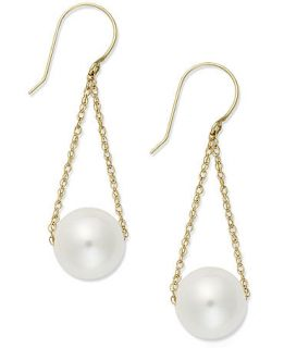 14k Gold Earrings, Cultured Freshwater Pearl Chain Drop Earrings (10mm)   Earrings   Jewelry & Watches
