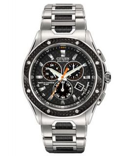 Citizen Mens Eco Drive Octavia Perpetual Chronograph Black Carbon Fiber and Stainless Steel Bracelet Watch 43mm BL5500 58E   Watches   Jewelry & Watches