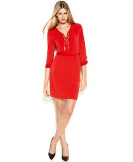 MICHAEL Michael Kors Long Sleeve Lace Up Belted Shirtdress   Dresses   Women