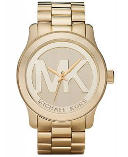 Michael Kors Womens Runway Gold Plated Stainless Steel Bracelet Watch 45mm MK5473   Women