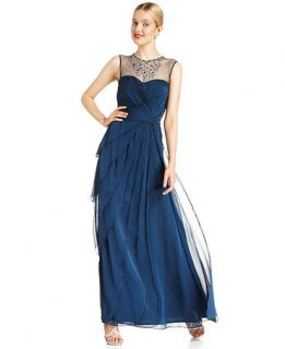 Adrianna Papell Sleeveless Beaded Tiered Gown   Dresses   Women