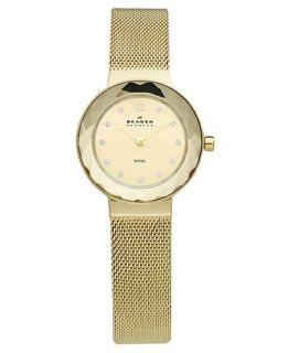 Skagen Denmark Watch, Womens Gold Tone Stainless Steel Mesh Bracelet 25mm 456SGSG   Watches   Jewelry & Watches