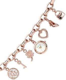 Anne Klein Watch, Womens Rose Gold Tone Charm Bracelet 10 7604RGCH   Watches   Jewelry & Watches