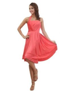 Orifashion Modest Watermelon Red Knee Length Short Bridesmaid Dress WDSORJ106