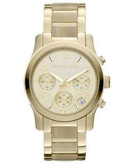 Michael Kors Womens Chronograph Runway Horn Acetate and Gold Tone Stainless Steel Bracelet Watch 38mm MK5660   Watches   Jewelry & Watches